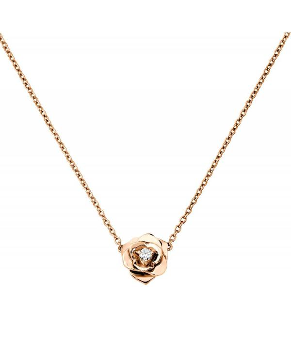 Piaget Rose pendant in 18K pink gold set with a brilliant-cut diamond [approx. 0.06 ct]