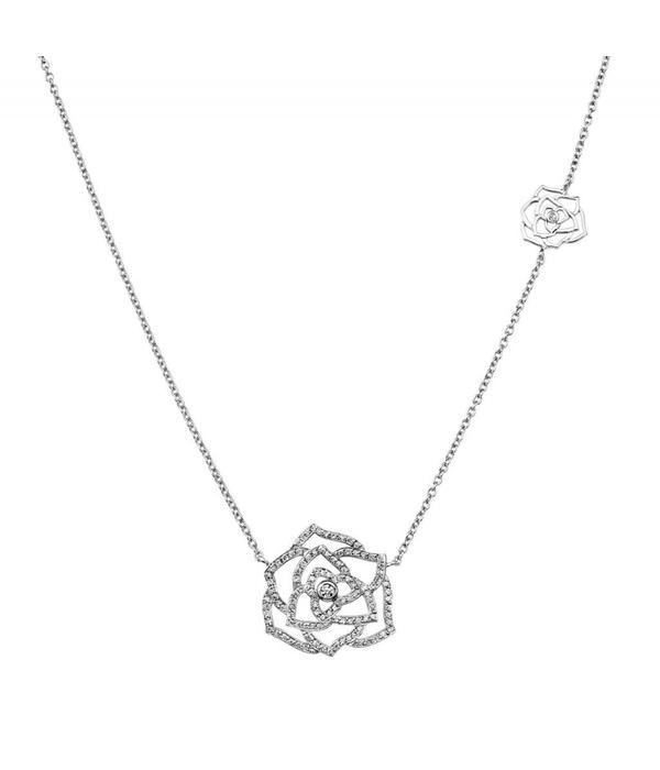 Piaget Rose pendant in 18K white gold set with 113 brilliant-cut diamonds [approx. 0.44 ct]