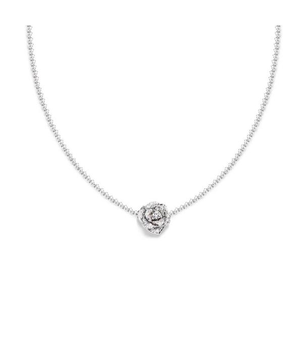 Piaget Rose pendant in 18K white gold set with 36 brilliant-cut diamonds [approx. 0.23 ct]