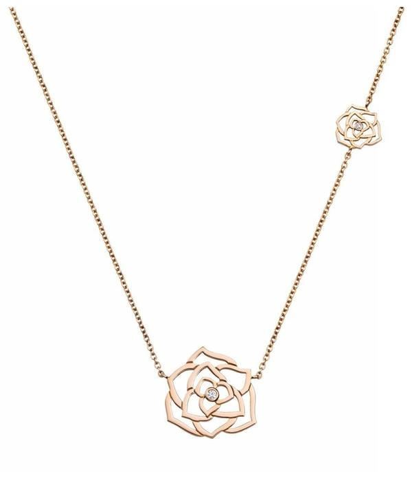 Piaget Rose pendant in 18K pink gold set with 2 brilliant-cut diamonds [approx. 0.06 ct]