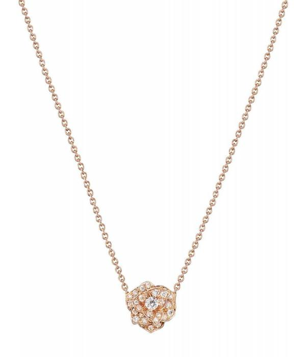 Piaget Rose pendant in 18K pink gold set with 39 brilliant-cut diamonds [approx. 0.45 ct]