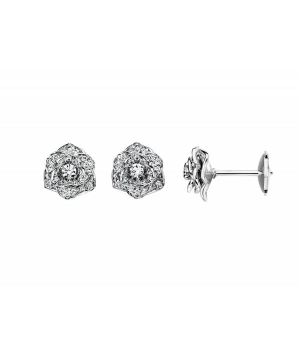 Piaget Rose earrings in 18K white gold set with 72 brilliant-cut diamonds [approx. 0.45 ct]