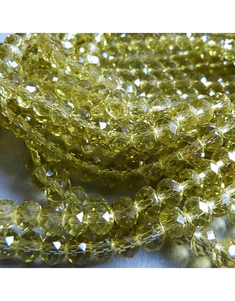 Glasschliff Perle - 6 mm oliv gelb