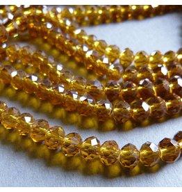 Glasschliff Perle - 6 mm honig