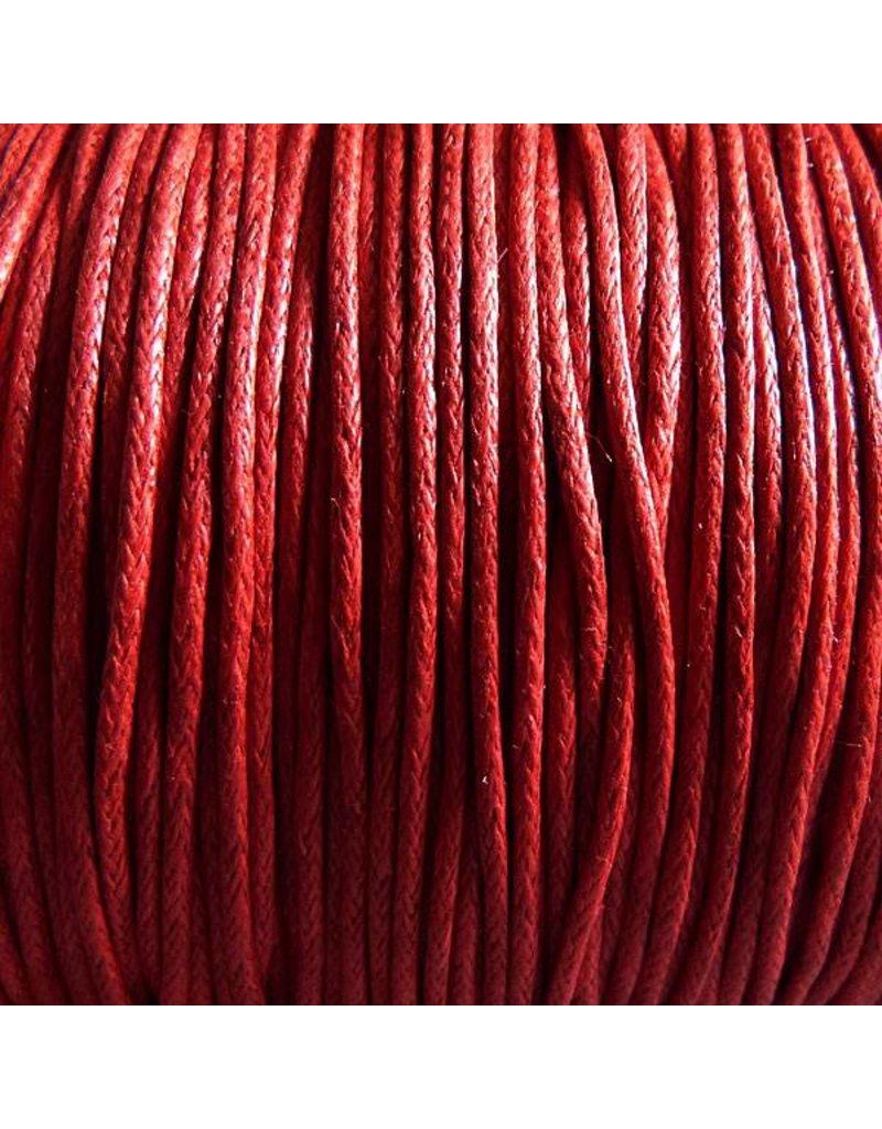 Baumwollband - 1 mm gewachst rot