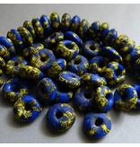 Glas Pulver Donat 12 mm - blau/gelb