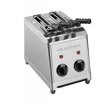 Milan toast tosti-apparaat rvs 2 sleuven 230V 1250W nieuw model