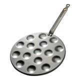 Poffertjespan m/steel Ø27cm plaatstaal 16xØ4cm gaatjes