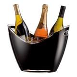Wijnkoeler zwart kunststof 26(H)x 35x27cm voor 3 flessen