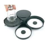 Glasrandbedekker zwart kunststof 3 ronde schijven