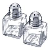 Peper/zoutstrooier mini glas m/rvs deksel set a 2