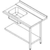 Aanvoertafel rechts 1200x750x900(h) tbv Rhima WD6 geheel rvs