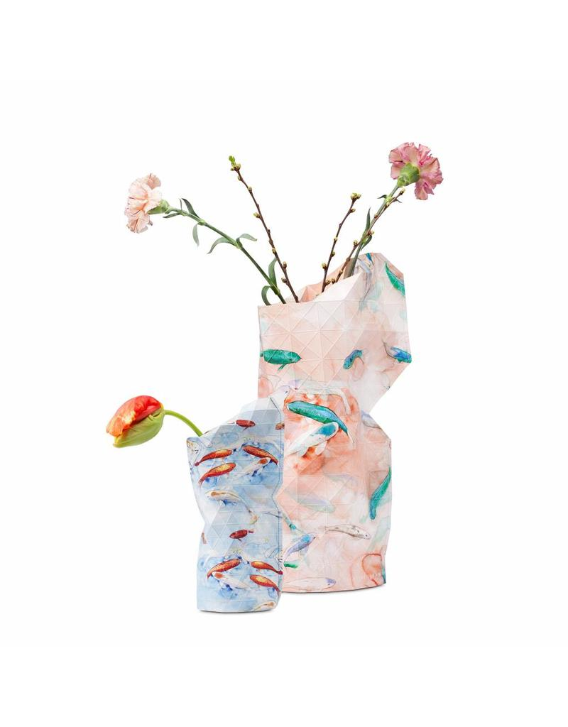 Paper Vase Cover Blue Fish (small)