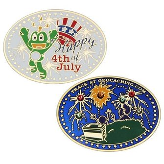 Coins and Pins Geocoin Happy 4th of July!