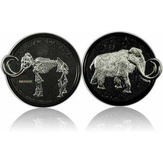 CacheQuarter Mammoet Geocoin LE - Zwart nikkel met zilver