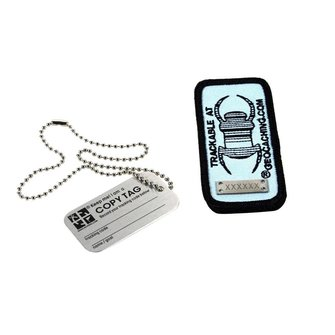 Groundspeak Trackable patch klittenband - Travel Bug blauw
