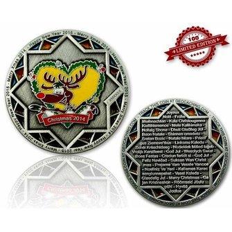 CacheQuarter Kerstmis geocoin Rudolph - antiek zilver LE
