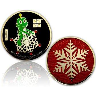 CacheQuarter Kerstmis geocoin Signal sneeuwvlok - gepolijst goud