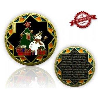 CacheQuarter Kerstmis geocoin Sneeuwpop  - goud/zwart nikkel XLE