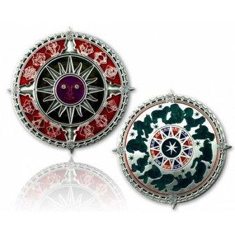 CacheQuarter Zodiac kompas - antiek zilver