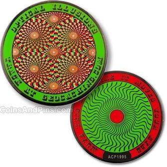 Coins and Pins Geocoin Optische Illusies - groen
