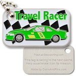 Coins and Pins Travel Racer Tag - groen