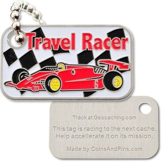Coins and Pins Travel Racer Tag - rood