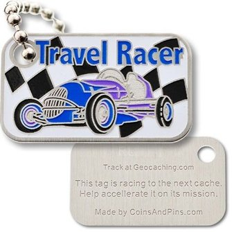 Coins and Pins Travel Racer Tag - blauw
