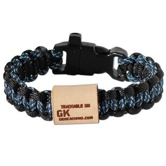 Geo Knots Trackable survival armband - blauw XL