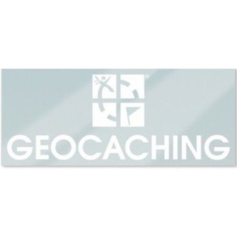 Groundspeak Statische sticker Geocaching logo - wit