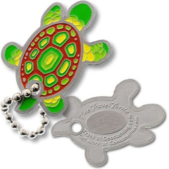 Coins and Pins Travel Schildpad tag