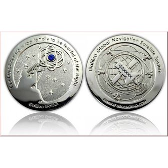 CacheQuarter Galileo GPS Geocoin - Antiek Zilver LE