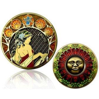CacheQuarter 4 Seizoenen coin Herfst - antiek goud