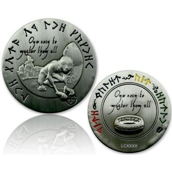CacheQuarter The Lord of the Caches - Gollum geocoin, antiek zilver