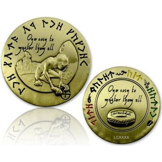 CacheQuarter The Lord of the Caches - Gollum geocoin, antiek goud