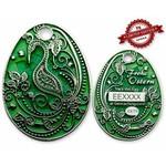 CacheQuarter Paasei geocoin - groen zilver XLE