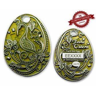 CacheQuarter Trackable paasei geocoin - transparant geel zilver XLE