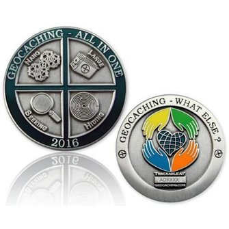 CacheQuarter Geocoin All in One 2016: Geocaching, what else? - antiek zilver