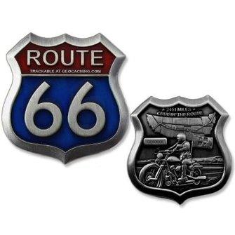 CacheQuarter Geocoin Route 66 - antiek zilver