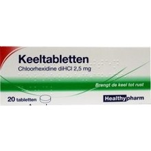 Healthypharm Chloorhexidine keeltablet Inhoud:20tab