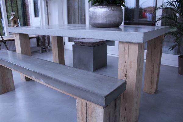 Beton Tafel Buiten : Tafel met betonlook blad