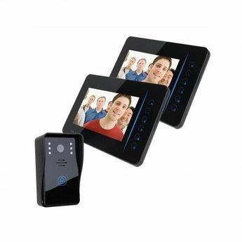 """Deurbel met Camera 7"""" LCD Beeldscherm Zwart - Duo Set"""