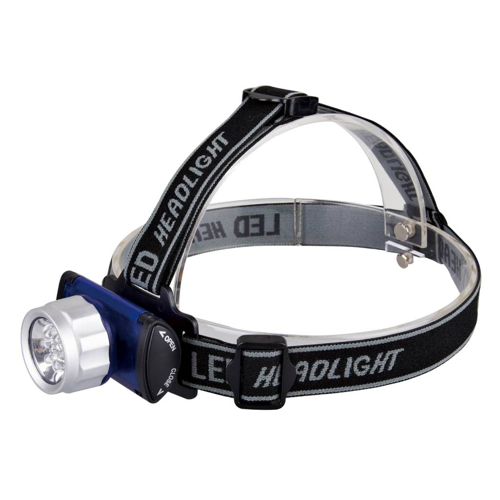 Plastic LED hoofdlamp - 3 kleuren LED - Blauw