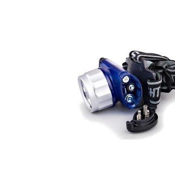 Lichtgewicht plastic LED hoofdlamp - 3 kleuren LED - Blauw