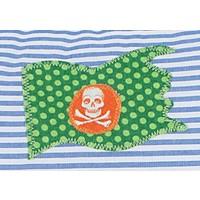 Namenskissen Pirat, Farbe: Blau gestreift