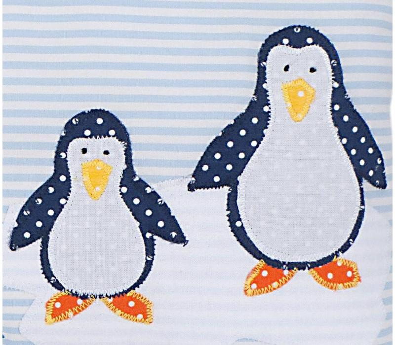 Namenskissen Pinguin, Farbe: Hellblau gestreift