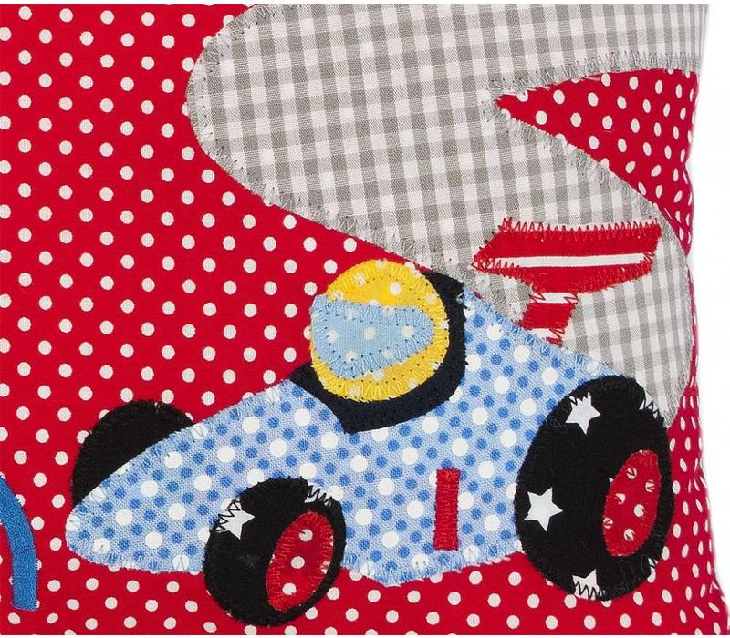 Kissen mit Namen & Rennauto, Rennwagen, Farbe: Rot gepunktet