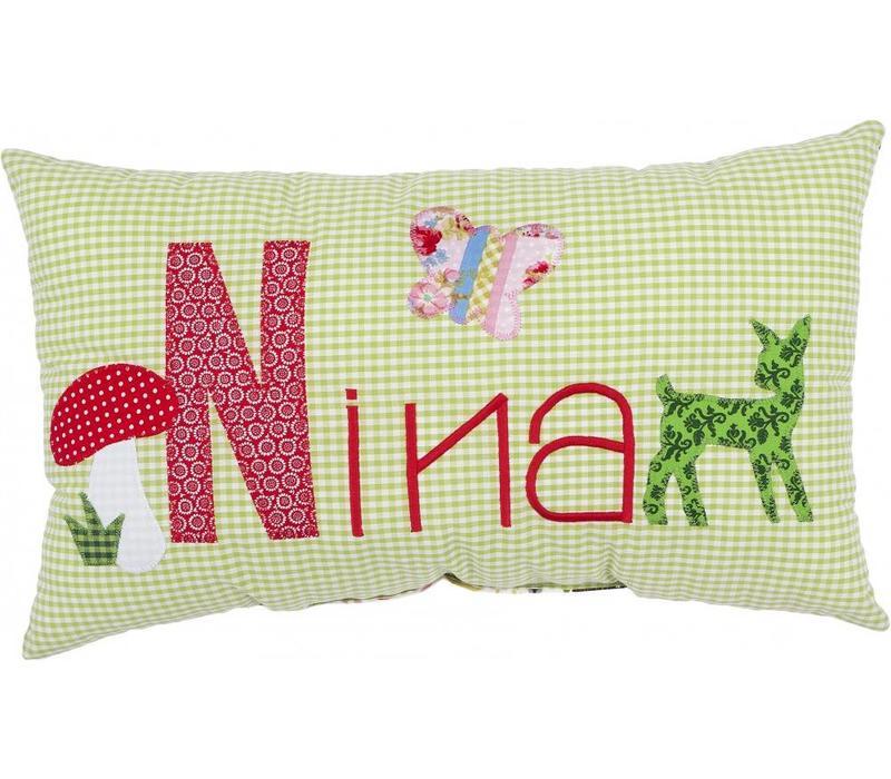 Kissen mit Namen bestickt für Waldfreunde mit Motiv Bambi (Modell Nina)