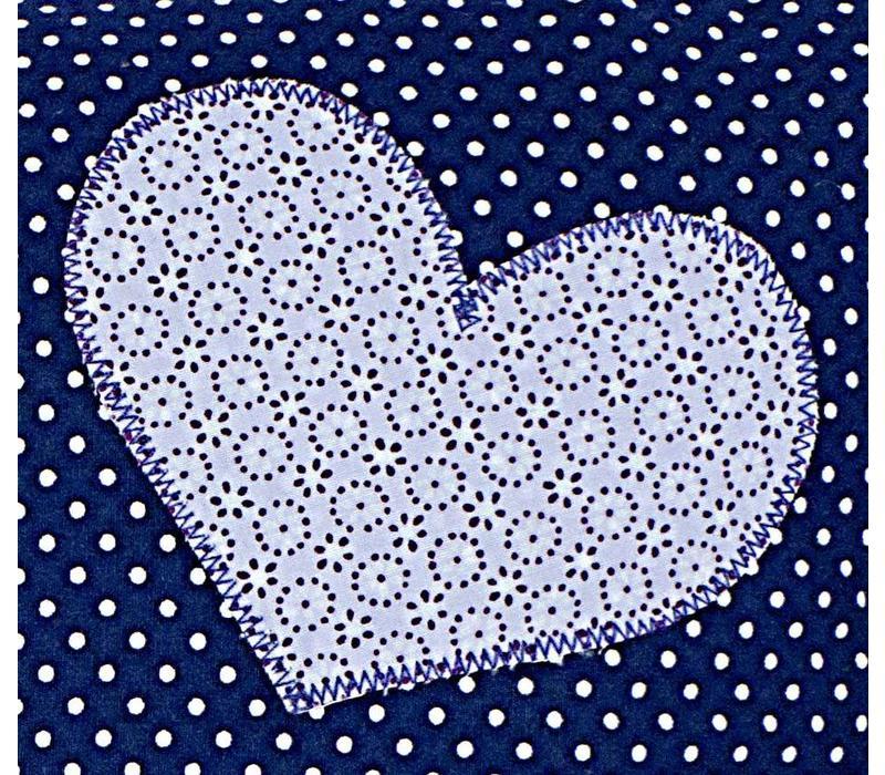Namenskissen Herz - Viele Herzen in Dunkelblau mit Flieder