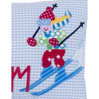 Namenskissen Skifahren, Farbe: Hellblau kariert